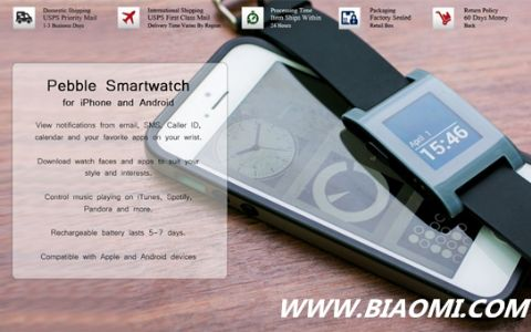 Pebble 智能手表更新 与iPhone联系更加密切