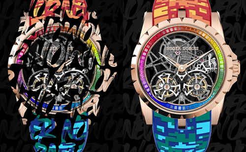 限时快闪 耀动全城  Roger Dubuis罗杰杜彼推出 Excalibur Rainbow Double Flying Tourbillon腕表