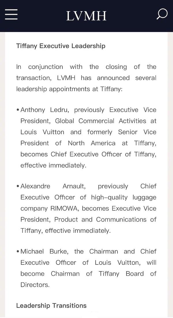 LVMH集团完成对蒂芙尼收购 老板二儿子将担任Tiffany内部最高职? Tiffany 蒂芙尼 LVMH 热点动态  第2张